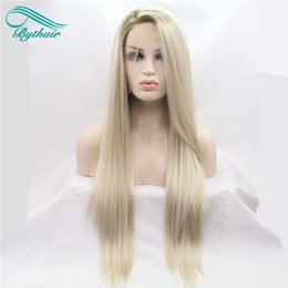 Wholesale Wigs Long Blonde - Bythair Heat Resistant Hair Ombre Blonde Synthetic Lace Front Wig For Women Side Part Long Silky Straight Lace Wig Half Hand Tied