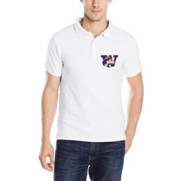 2019 bermudas Camisa polo dos homens Moda estilo preppy Algodão Casuais de Manga Curta de impressão personalizada Washington Universidade Huskies Pólo Camisa bermudas barato
