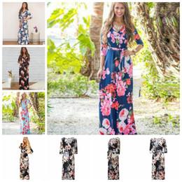 Wholesale loose beach dress sleeves - 3 4 Sleeve Long Dress Floral Printed Fashion Women Casual Long Dress Loose Boho Beach Maxi Elegant Floral Dress KKA4799