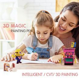 Wholesale diy art toys - 2018 3D Printer Magic Painting Pen Children Drawing Toys DIY Designer Modeling Coloring Arts 3D Paint Pen Kids Learning Education Toy