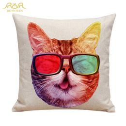 Wholesale Office Sofa Designs - New Design Cute Cat Decorative Cushion Cover Cotton Linen Throw Pillow Case 45x45CM Pillow Cover Home Sofa Office Car Seat Decor