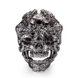 Wholesale punk accessories titanium - Wholesale Cool Stainless Black Gold Skeleton Accessories Punk Rings Personality Skull King Male Rings For Men Jewelry 7C1127