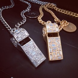 Wholesale Halloween Whistle - New Fashion Luxury Brand Design Men Women Necklace Gold Plated AAA Rhinestone Whistle Pendant Necklace for Men Women Nice Gift