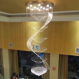 Cuerdas de luz de cristal led online-Araña de cristal larga Escalera Espiral Araña de cristal Iluminación Escalera Lámparas de techo Lámparas de techo alto cuerda ZG8011 #