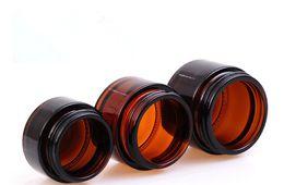 Âmbar vazio frascos de vidro cosméticos on-line-Empty skin care facial cream jars 20g 30g 50g empty jars amber glass cosmetic jar with gold silver cap