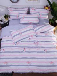 gemütliche bettwäsche Rabatt 4Pcs Bettwäsche Set frisch süß gestreiften Candy Pattern Cozy weichen Bettwäsche-Set