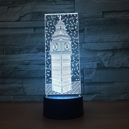 cartoon ben Australia - Big Ben 3D Optical Illusion Lamp Night Light DC 5V USB Powered AA Battery Wholesale Dropshipping