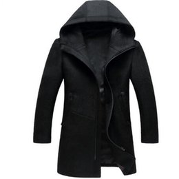 Wholesale Woolen Clothes Design - Autumn Winter British style men's wool coat New design Zipper Long trench coat Brand Clothing Top quality hooded woolen men