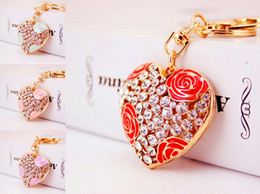 Wholesale Valentines Gift Bags - Creative Diamond Rose Flower Heart Car Key Chain 5 Styles Girls Bag Metal Pendant Valentine 'S Day Gift Wholesale Free DHL D975Q