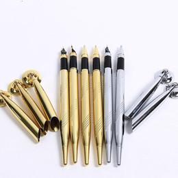 paralelos de escritorio Rebajas Pluma con la base Pluma clásica con soporte Metal dorado plata bolígrafo Banquete de boda mesa decoración QW8639
