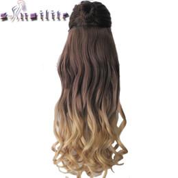 """Extensiones de cabello rizado sintético y resistente al calor. online-S-noilite Long Rizado 23 """"58CM Pinza para el cabello sintética resistente al calor en extensiones de cabello Ombre pieza de dos tonos"""