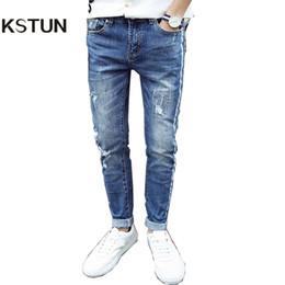 Wholesale Hip Hop Boys Jeans - KSTUN 2017 New Arrivals Men's Jeans High Quality Slim Ripped Jeans For Men Soft Distressed Hip Hop Striped Designer Stretch Boys
