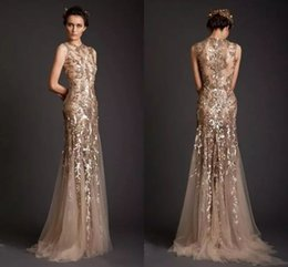 Wholesale hot seen sexy - Hot Sell Mermaid Evening Dresses Gold Appliques Tulle Sheer See Through Neckline Prom Dress Long Formal Dubai Dresses Party Gowns