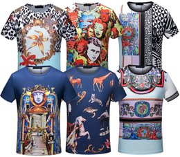 Wholesale Shirts Men Washing - 2018 New tshirt for men tees fashion designer gold stamp medusa palace Harajuku tops animal printing short sleeved t shirts