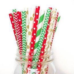 Cannucce di carta speciale di Natale di design Cannucce di carta di stampa a inchiostro soia ecologiche certificate FDA da cannucce a righe blu fornitori