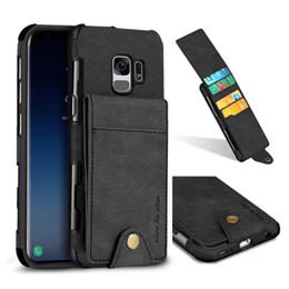 Wholesale note vertical case - Card Box Pocket Vertical Leather Soft TPU Case For Iphone X 8 Samsung Note 8 S9 Plus Multifunction Silicone ID Card Slot Flip Wallet Cover