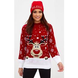 Suéter copo de nieve de venado online-2018 Año Nuevo Suéter de Navidad Lindo Ciervo y Copo de nieve Otoño Invierno Mujer Suéter Regalo de Navidad de manga larga de punto