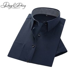 Wholesale Ds Shirt - Wholesale-DAVYDAISY Dress Shirt Men Slim Fit Multicolor Solid Formal Twill Social Business Men Short Sleeve Shirts Chemise Homme DS-187