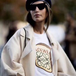 Wholesale Fashion Toast - 18SS LOEWE Toast Bread Printed Women's T-shirt Summer Casual Fashion Girl Short Sleeve White TEE HFLSTX080