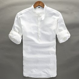 Wholesale thin white cotton tops - Summer Linen Shirt Men High Quality Casual Three Quarter Regular Sleeve Comfortable Tops Thin Fit White Popover Linen Tees Male