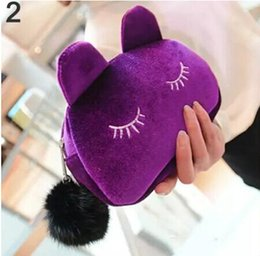 Wholesale Korean Cosmetics Wholesale Free Shipping - Cute Portable Cartoon Cat Coin Storage Case Travel Makeup Flannel Pouch Cosmetic Bag Korean and Japan Style free shipping
