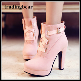 Wholesale Comfortable Platform Boots - Adorable Comfortable Chunky High Heel Ankle Boots Women Platform Shoes 12cm Pink Yellow Black Khaki Size 34 To 39