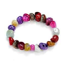 perline pop Sconti Vendita calda 2018 Moda all'ingrosso Ice Crack Pops Bracciali Natural Irregular Foro laterale India naturale Agat Stone Beads Bracelet For Women Men
