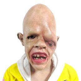 Trajes assustadores on-line-Horror Látex Um Olho Zombie Rosto Halloween Máscara Fantasia Traje Do Partido Assustador Vestido Adereços Brinquedos para Crianças Adultas