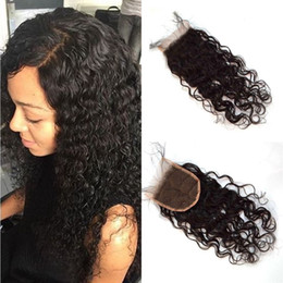 Wholesale Cheap Wavy Indian Remy Hair - Wet and Wavy Lace Closure Natural Color Burmese Hair 4x4 Cheap Top Closures 100% Remy Human Hair FDshine
