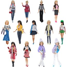 Wholesale Doll Clothes For Barbies - E-TING 1 6 High Fashion Clothes For Barbie Casual Wear Girls Suit Blouse Pants Doll Accessories Necklace Handbag Shoes Toys Gift
