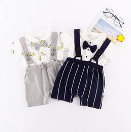 Wholesale baby boy clothes black tie - Layered Infant Clothing Sets Romper Jumpsuit for Boy Baby Gentleman Style Tie Straps Short Sleeve Lapel Collar Summer