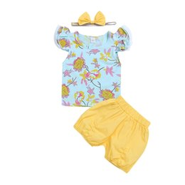 Цветные t фонари онлайн-Newborn Kids Baby Girl Flower Fly Sleeve Light Blue Top T-shirt Yellow Shorts Pants +Bow Outfits Clothes Summer