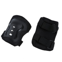 Wholesale Kids Skating Pads - Kids Hook Loop Fastener Skating Sport Elbow Knee Wrist Support Pads Black