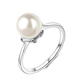 marchio di perle migliori Sconti 10 Pz / lotto Luckyshine Fashion Brand Best Perla Anello Semplice Classy Platino placcato per le donne Fedi nuziali
