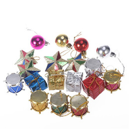 ball candle colorful Coupons - 18pcs Colorful Glier Mini Drums Gifts Stars Balls Christmas Tree Ornaments Hanging Decoration Pendant Christmas Decoration