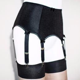 Wholesale lenceria plus - 6 STRAP PLAIN BLACK SUSPENDER BELT ,garter belt Plus size set 1 pair stockings for free ,5 SIZE women lingerie lenceria mujer