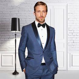 Wholesale Men S Marriage Suits - New Arrivals Blue Men Suits Slim Fit Formal Tailor Made Groom Prom Tuxedo Costume Marriage Homme 2 Piece Blazer Jacket+Pant