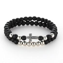 6 мм микро шарики онлайн-Micro Inlay Cross Color Zircon 6mm Copper  Black stone stoneBracelet bracelets for women men jewelry feminina