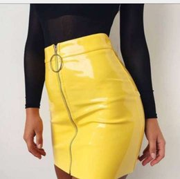 Wholesale Hot Women Short Skirts - Women`s New Fashion Street Wear Solid High Waist PU Leather Zipper Short Mini Skirt Hot
