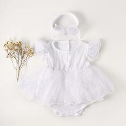8608a54deb5cd blouson tutu blanc Promotion Nouveau Ruffles Bébé Barboteuse Robe Avec  Bandeau Coton Dot Blanc Robe De