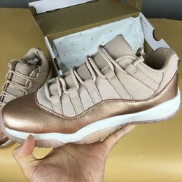 "Wholesale Rose Totem - 11 Low ""rose Gold"" For Women Basketball Shoes WMNS Sail Metallic Red Bronze-Gum Brown Designer Shoes womens Athletic Sneakers"