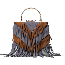 Fringe Tassel Bag Suede Ribbon Bohemian Hit Color PU Leather Bolsa Boho  Handbag Hippie Gypsy Women Shoulder Bag bolso boho mujer f504c1aa8b5a8