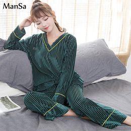 traje de oso azul Rebajas Alta calidad otoño invierno de manga larga ropa de dormir de oro de terciopelo para mujer pijamas establece caliente pijamas mujer ocio pijamas para mujeres