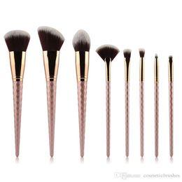 Wholesale Golden Rose Cosmetics - Mybasy 8pcs set Thread Makeup Brush Set Nylon Hair Spiral Eyebrow Eye shadow Powder brush Rose Golden Cosmetic Brush Tools