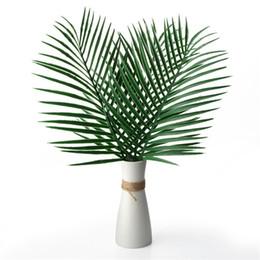 2019 grandi fiori artificiali Foglie di palma tropicali artificiali Piante finte Grande foglia di palma verde verde per la disposizione dei fiori Decorazioni per la casa di nozze grandi fiori artificiali economici