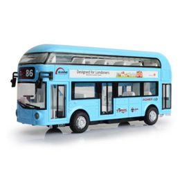 Wholesale Toy Car Model Buses - wholesale Alloy double tour bus air-conditioned bus city bus model children back sound and light toy car