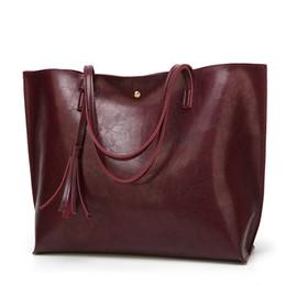Wholesale Linen Dresses Large - 2018 Highest Quality Women 100% Genuine Leather Shoulder Bag Causal Tote Designer Handbag Female Purse Large Capacity Tassel Bag