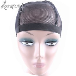 Wholesale Wholesale Wig Making Caps - 5 Pcs Dome Style Mesh Wig Cap For Making Wigs Black Color Fashion Stretchable Weaving Cap Elastic Nylon Mesh Net Wholesale