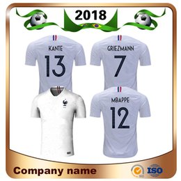 Wholesale blue star sales - 2018 World Cup 2 Star 10 MBAPPE Soccer Jersey Away White 7 Griezmann Shirts National Team POGBA Giroud football Uniform Sales