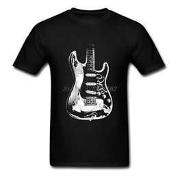 Wholesale Guitar Red Blue - Fit Big Yards Tee Shirts Adult Guitar Legend Tops with Stevie Ray Vaughan Print T Shirt Male